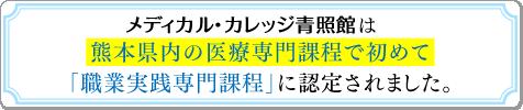 メディカル・カレッジ青照館は熊本県内の医療専門課程で初めて「職業実践専門課程」に認定されました。