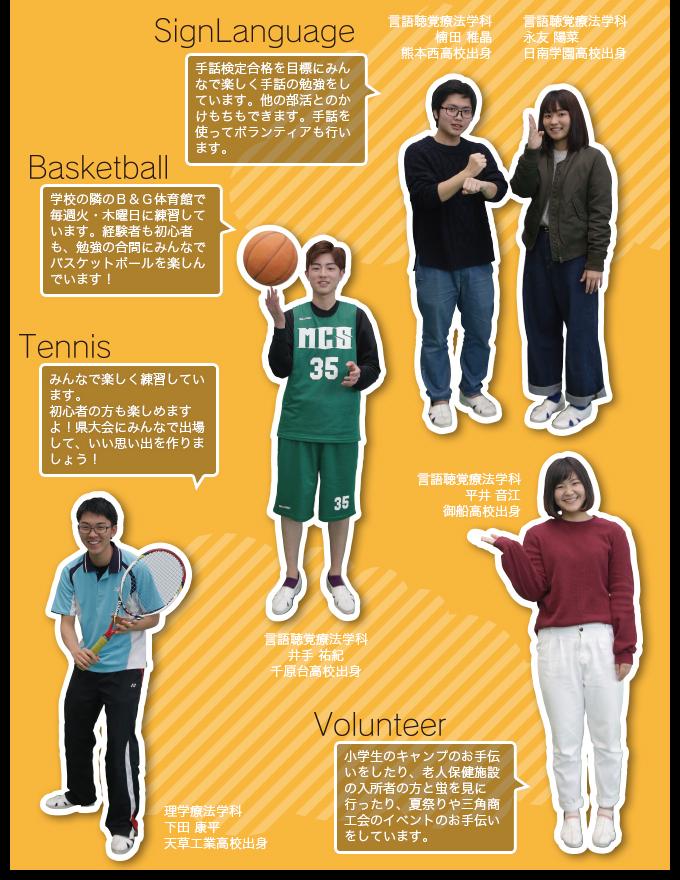 手話部・バスケ部・テニス部・ボランティア部